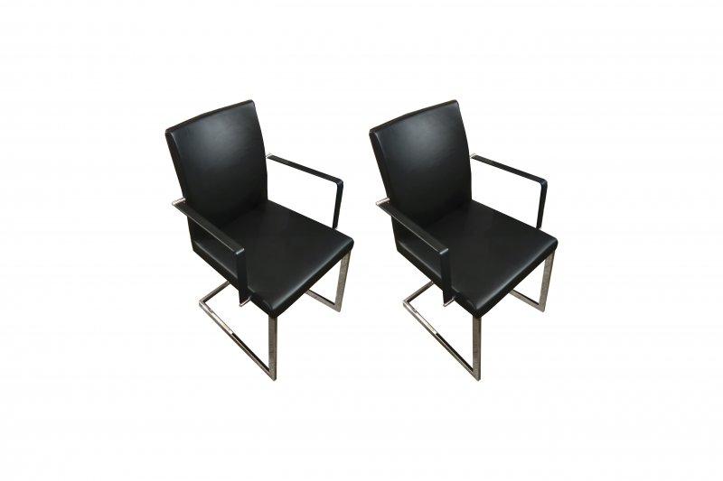 Zwart lederen stoelen 2 st for Lederen stoelen
